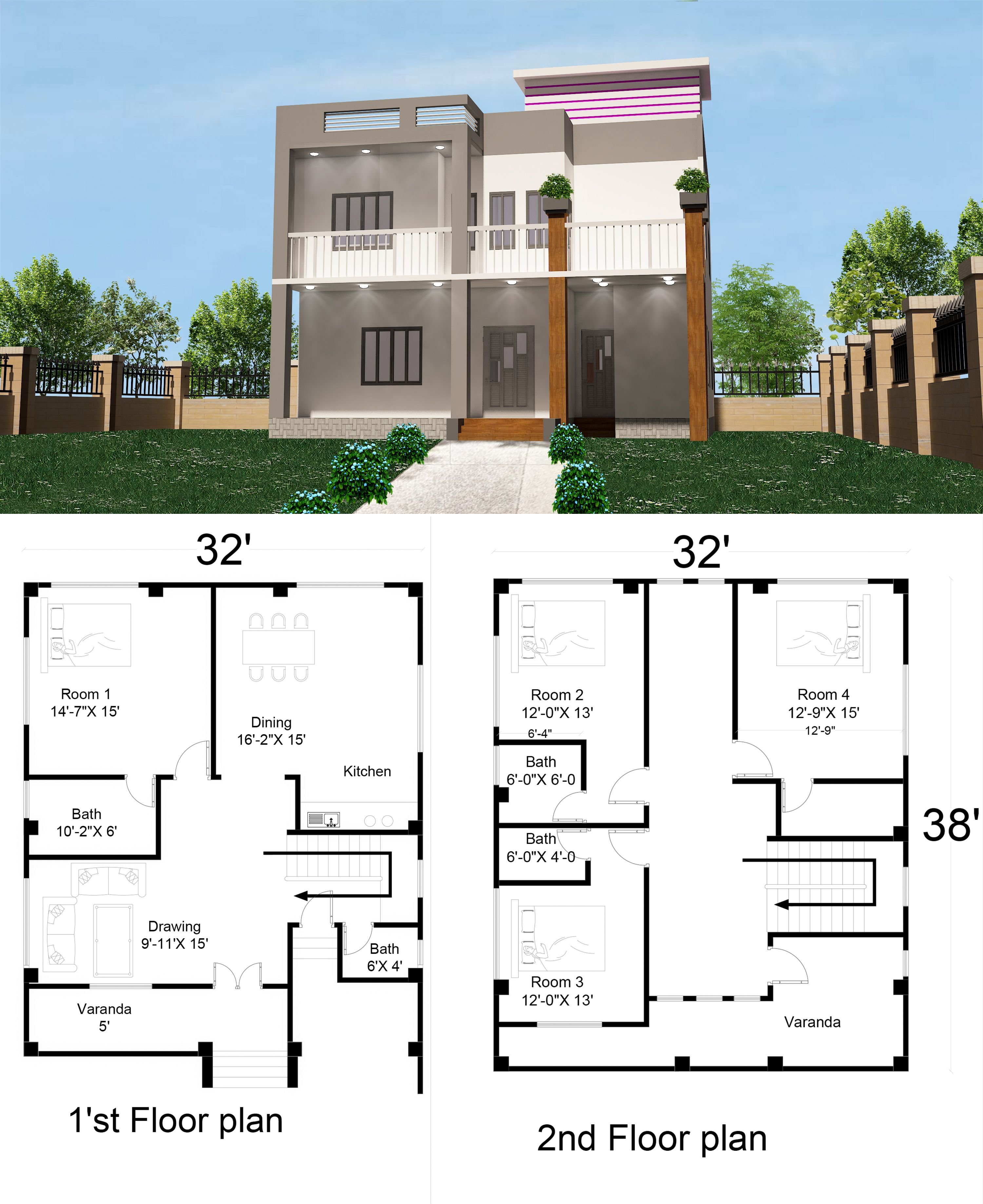 Simple 2 Storey House Design With Floor Plan 32 X40 4 Bed Room 2 Storey House Design 2 Story House Design Simple House Plans