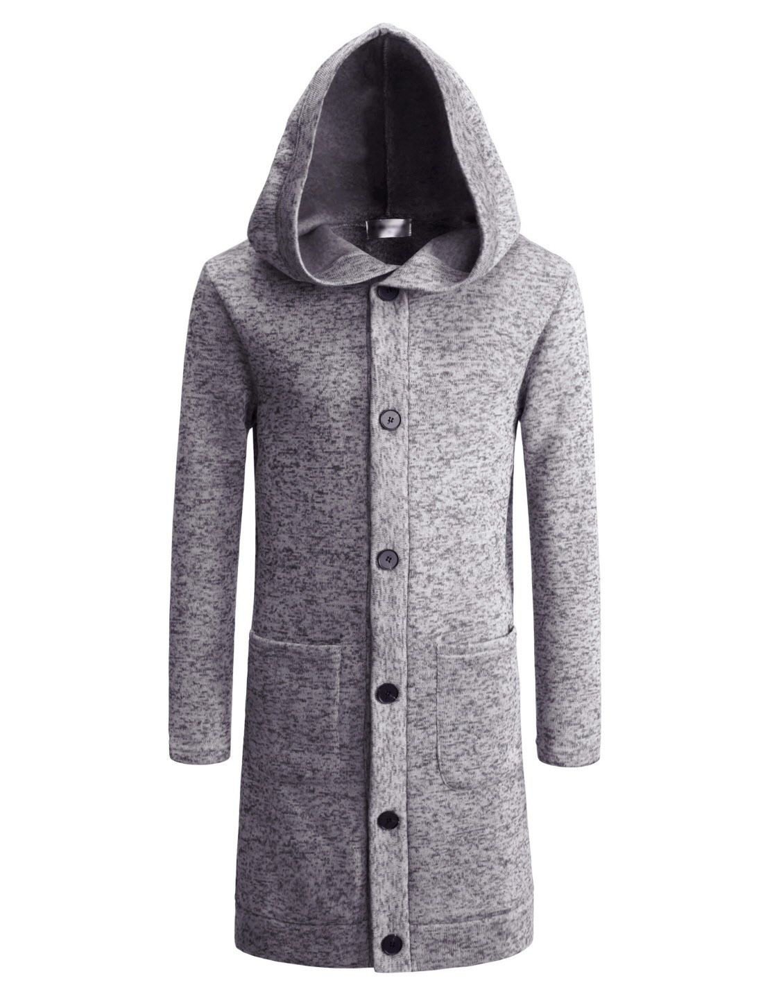 NKTNC606) TheLees Mens Slim Fit Fleece Lining Hooded 6 Button Long ...
