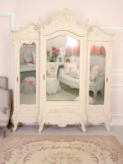 French Armoire · Large Mirrored Wardrobe In Cream