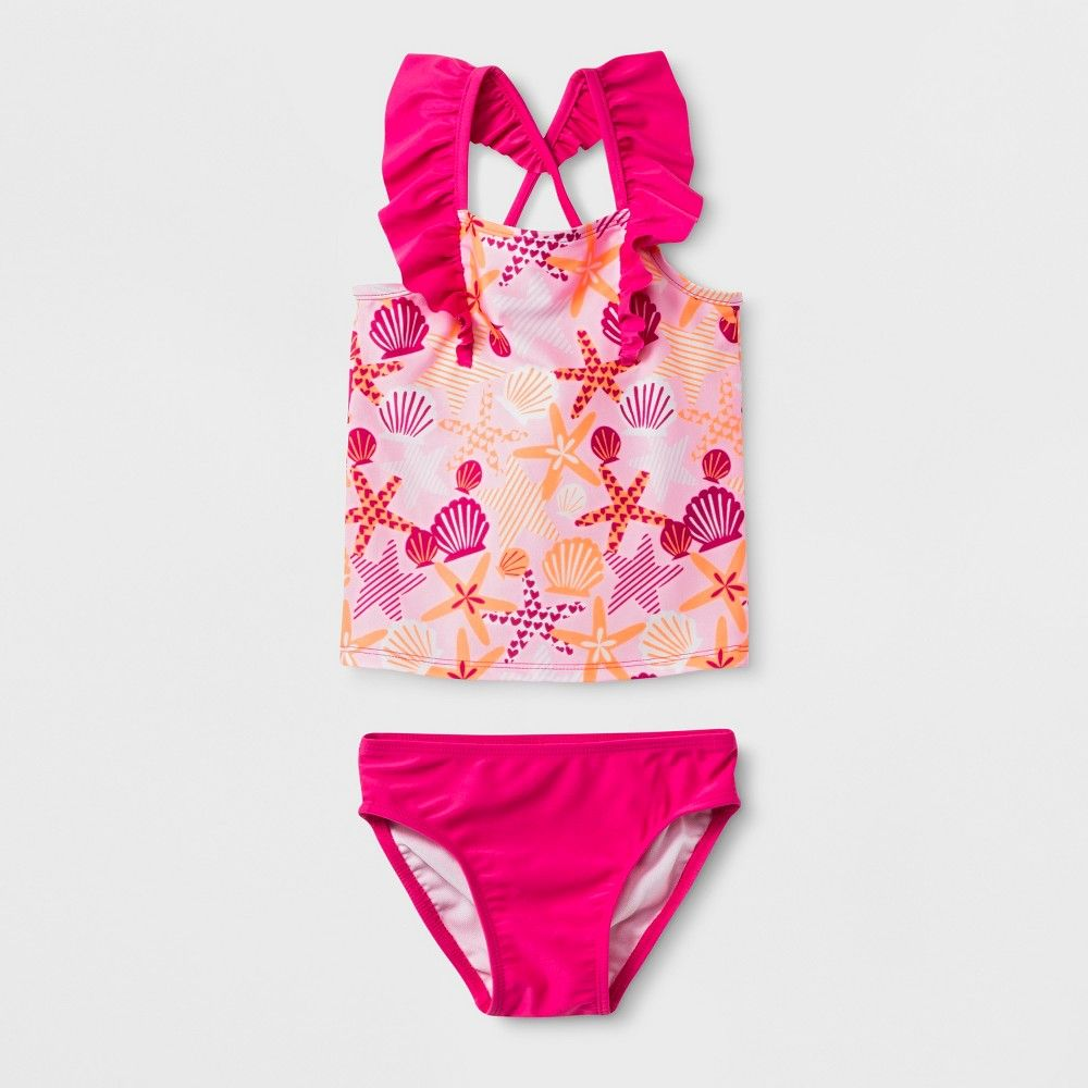 9ed6edb1aa The Ruffle Strap Tankini Set from Cat and Jack is the perfect toddler  swimsuit for your