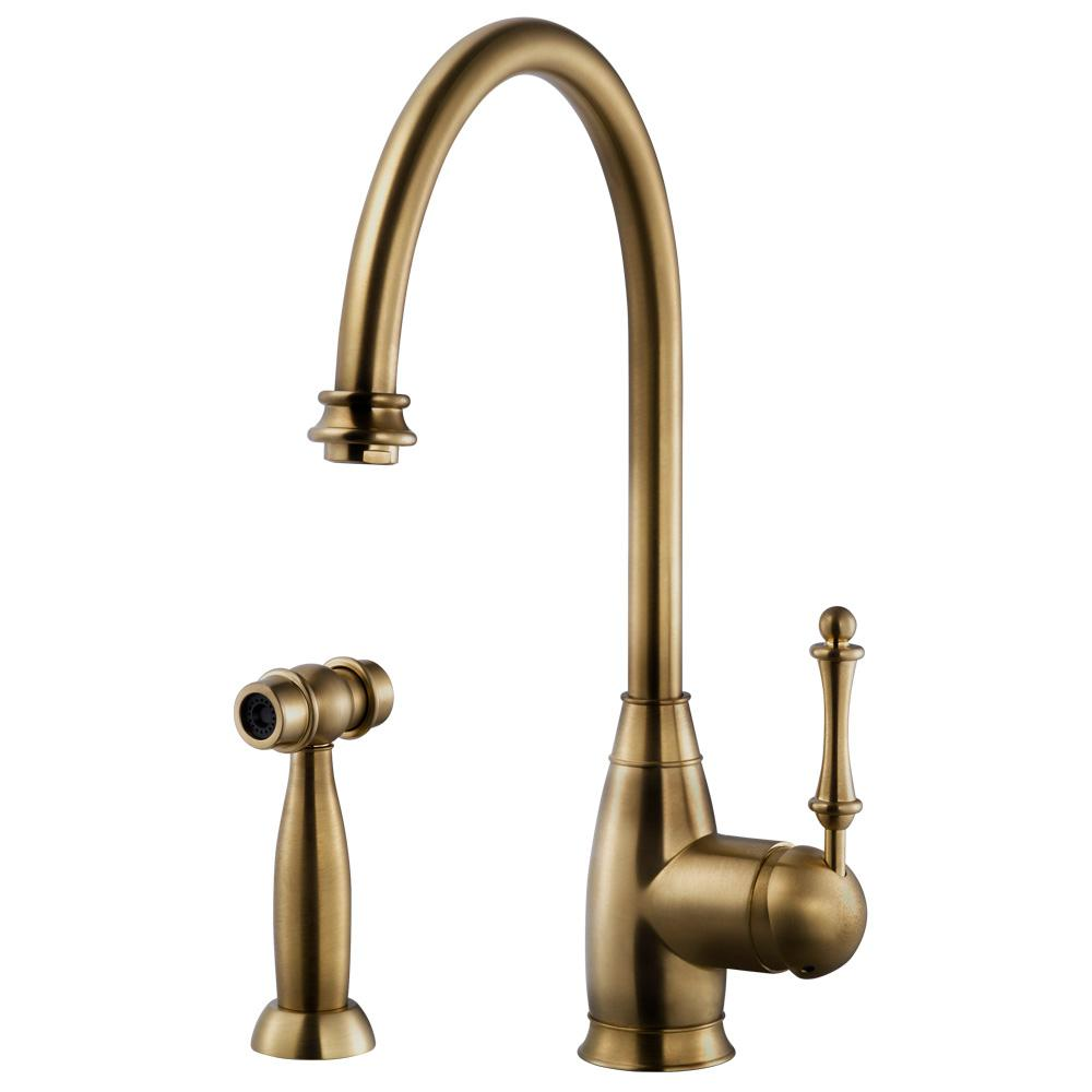 Houzer Charlotte Traditional Single Handle Standard Kitchen Faucet With Sidespray And Ceradox Technology In Brushed Brass Chass 682 Bb The Home Depot Antique Brass Faucet Brass Kitchen Faucet Traditional Kitchen Faucets