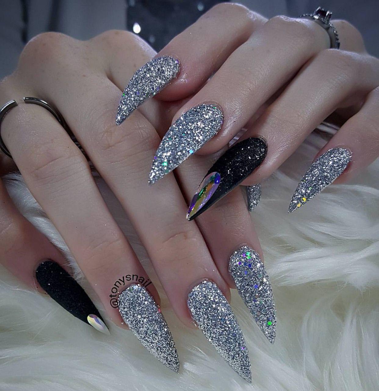 Fierce custom long black and silver glitter stiletto nails ...