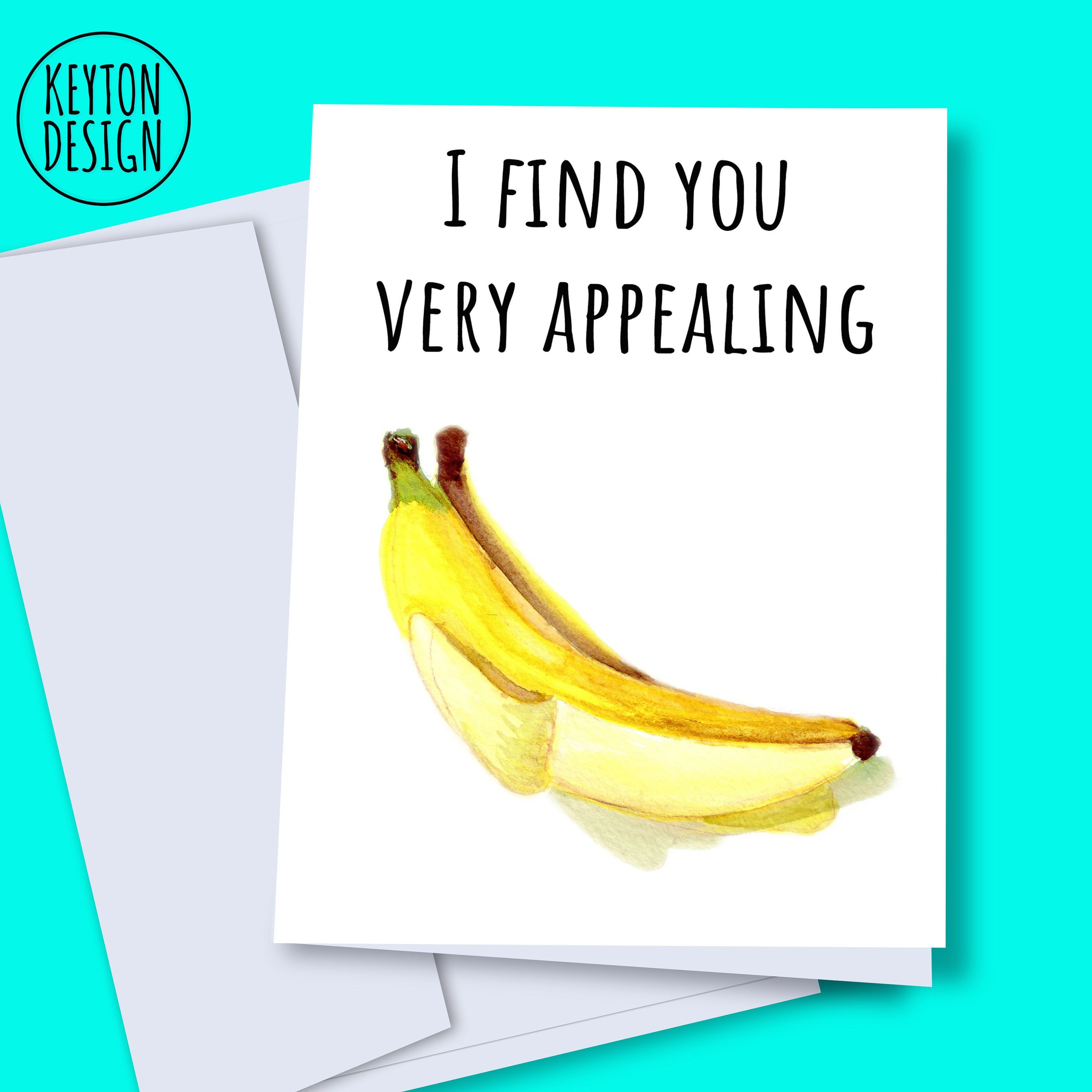 Instant Download Banana Card Printable Romantic Card Etsy Romantic Cards Anniversary Cards Funny Anniversary Cards