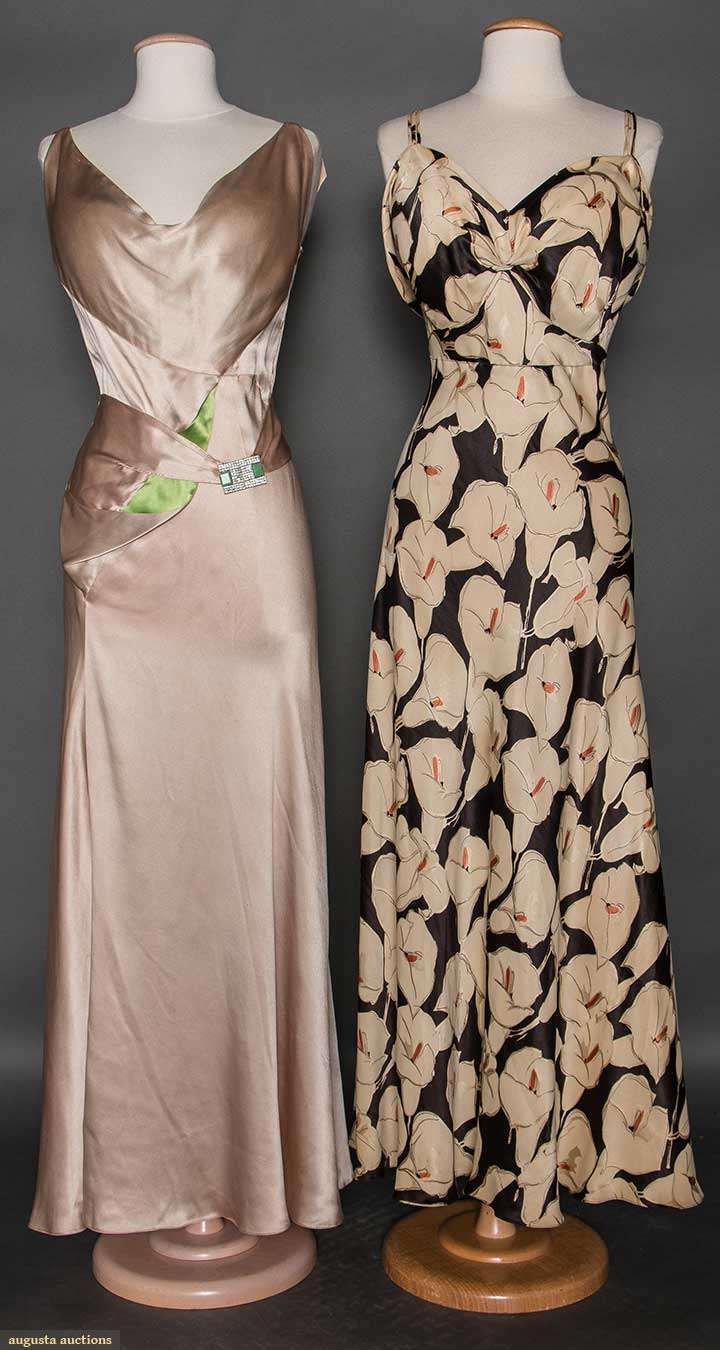 TWO SILK EVENING GOWNS, 1930s 1 bias cut champagne charmeuse, low ...