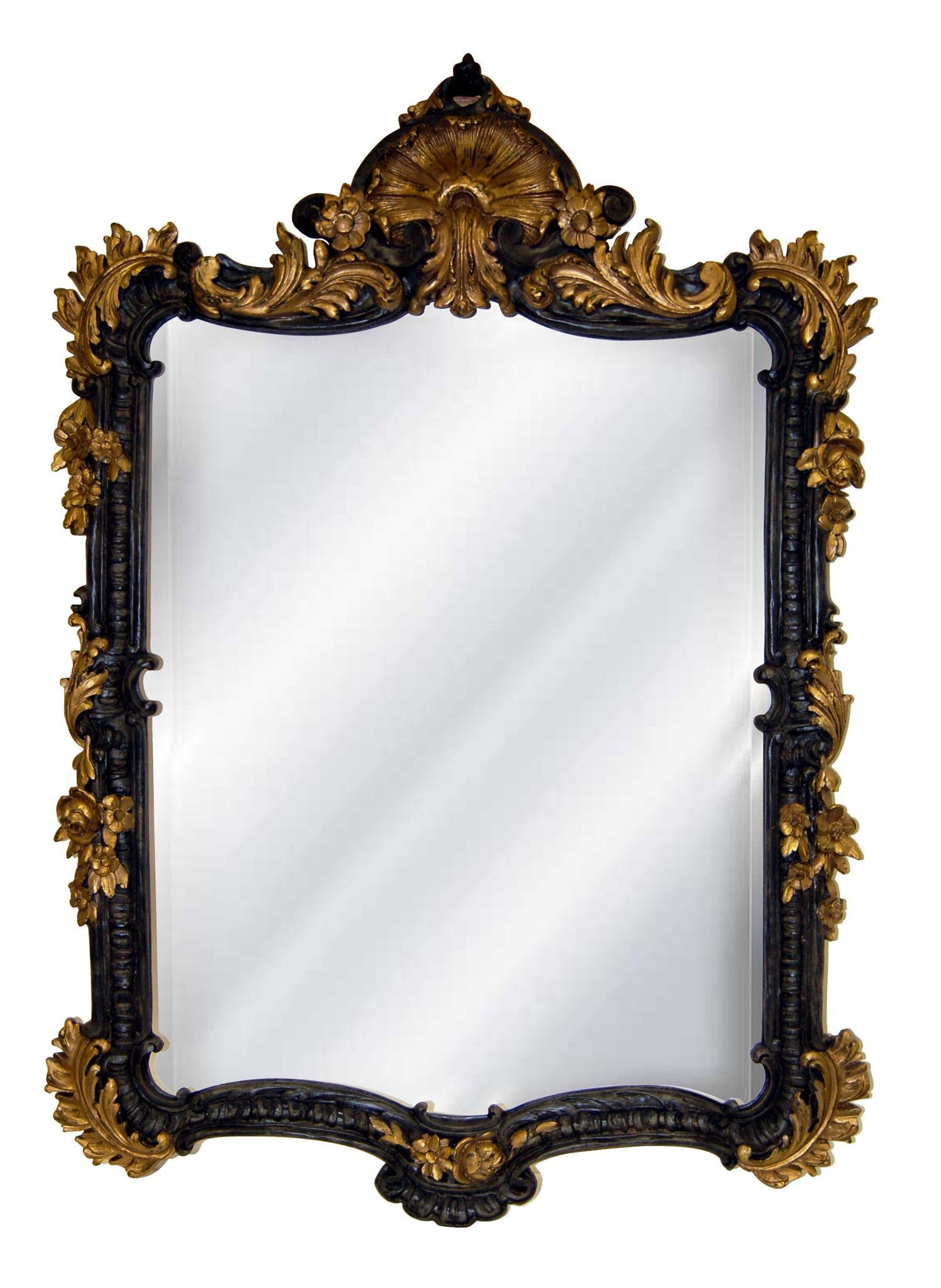 Ornate Shell Top Wall Mirror Antique Reproduction, Old Black Gold ...