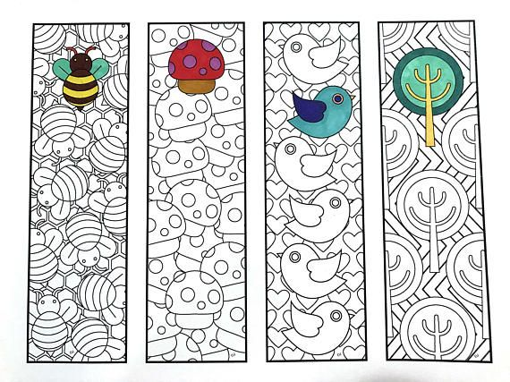 Print and color Cute Nature Bookmarks PDF Zentangle