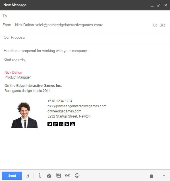 Send Your Gmail With Style Create A Cool Email Signature For Gmail Instantly With Email Sign Email Signatures Email Signature Templates Gmail Signature Design