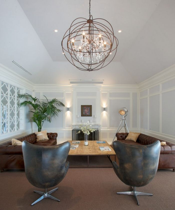 High ceiling living room with chandelier living room for Modern living room high ceiling