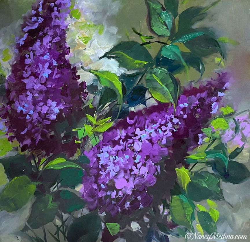Lilac Ladies, a live painting video, 16X16, oil The Joyful