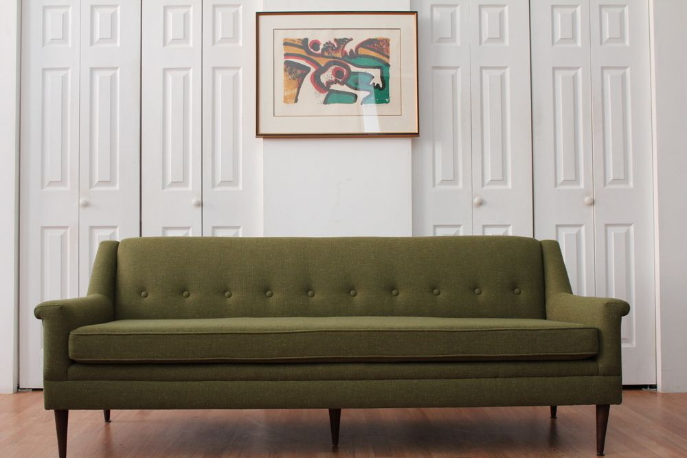 An Orange Moon Evil Olive Green Tweed Sofa Olive Green Sofas Olive Sofa Green Sofa Mid Century Modern Sofa