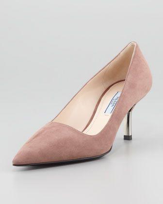 085950b51 Low-Heel Suede Pointed-Toe Pump, Dark Rose by Prada at Neiman Marcus.