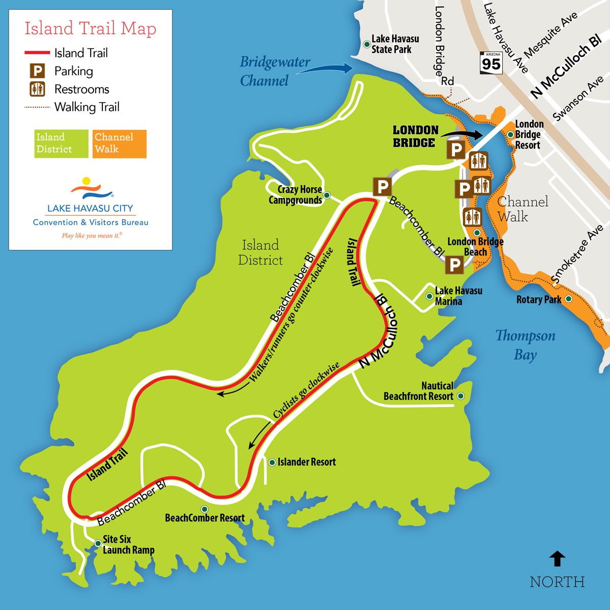 Island trail cycling map lake Havasu City Road trips and more