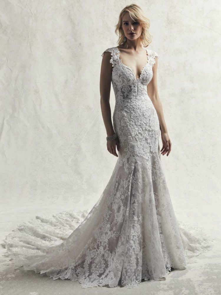 Fully Lace Cap Sleeve V-neck Fit And Flare Wedding Dress #romanticlace