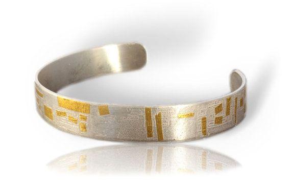 personalized cuff bracelet Keum boo bracelet Mens silver cuff bracelet modern cuff bracelet silver and gold cuff