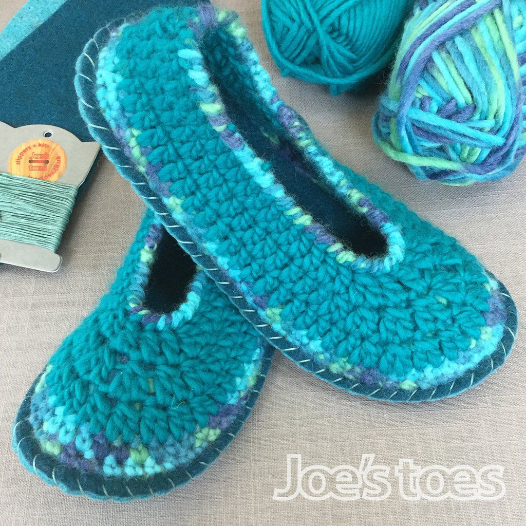 94654da40ad Joe s Toes Sarah Crochet Slipper kit - adult sizes 1-12 - Turquoise Mix
