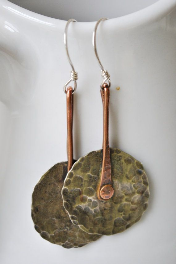 Mixed metal Copper and silver nickel dangling earrings, hammered ...