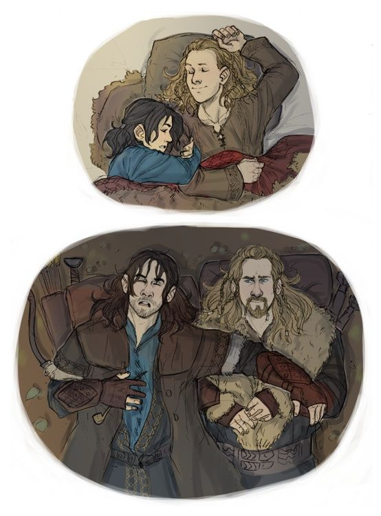 Young and old Fili and Kili, by PabutteGO on deviantart, Kili protecting his older brother, AAWWWW