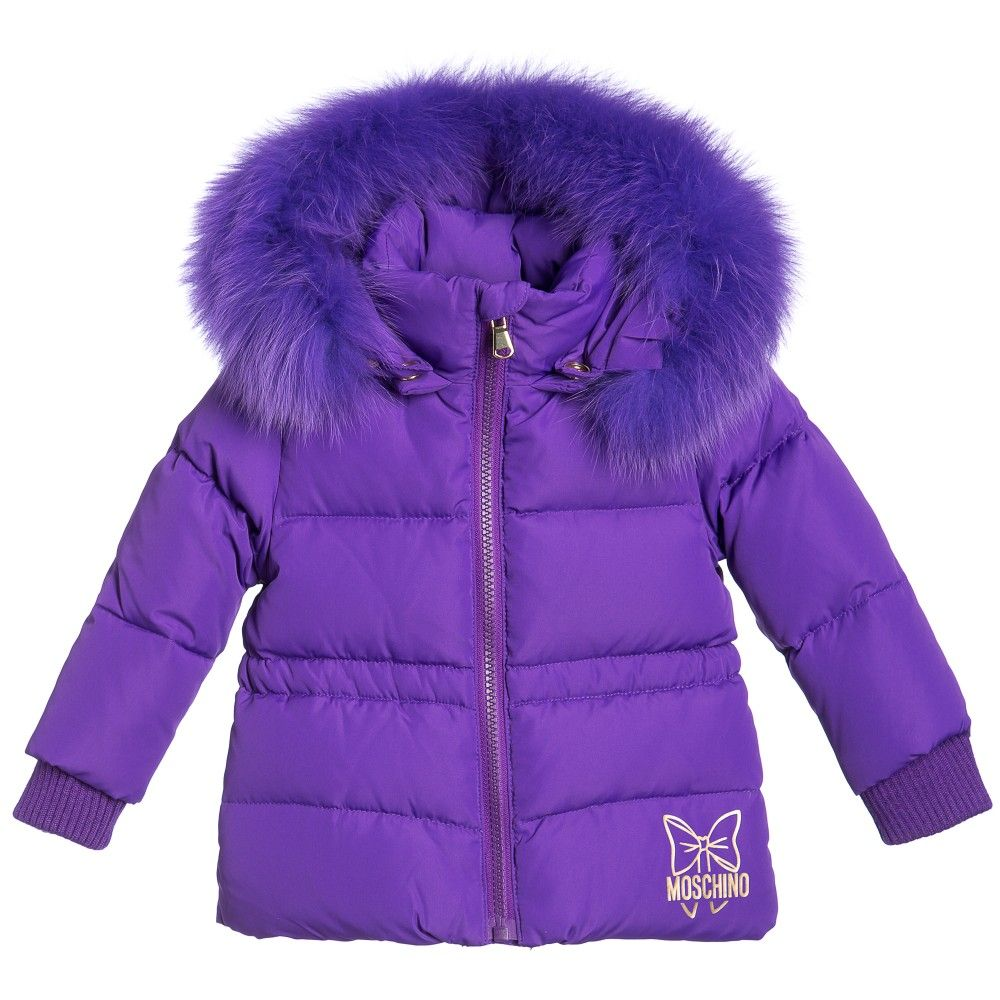 Moschino Baby Girls Purple Down Padded Fur-Trim Jacket at ...