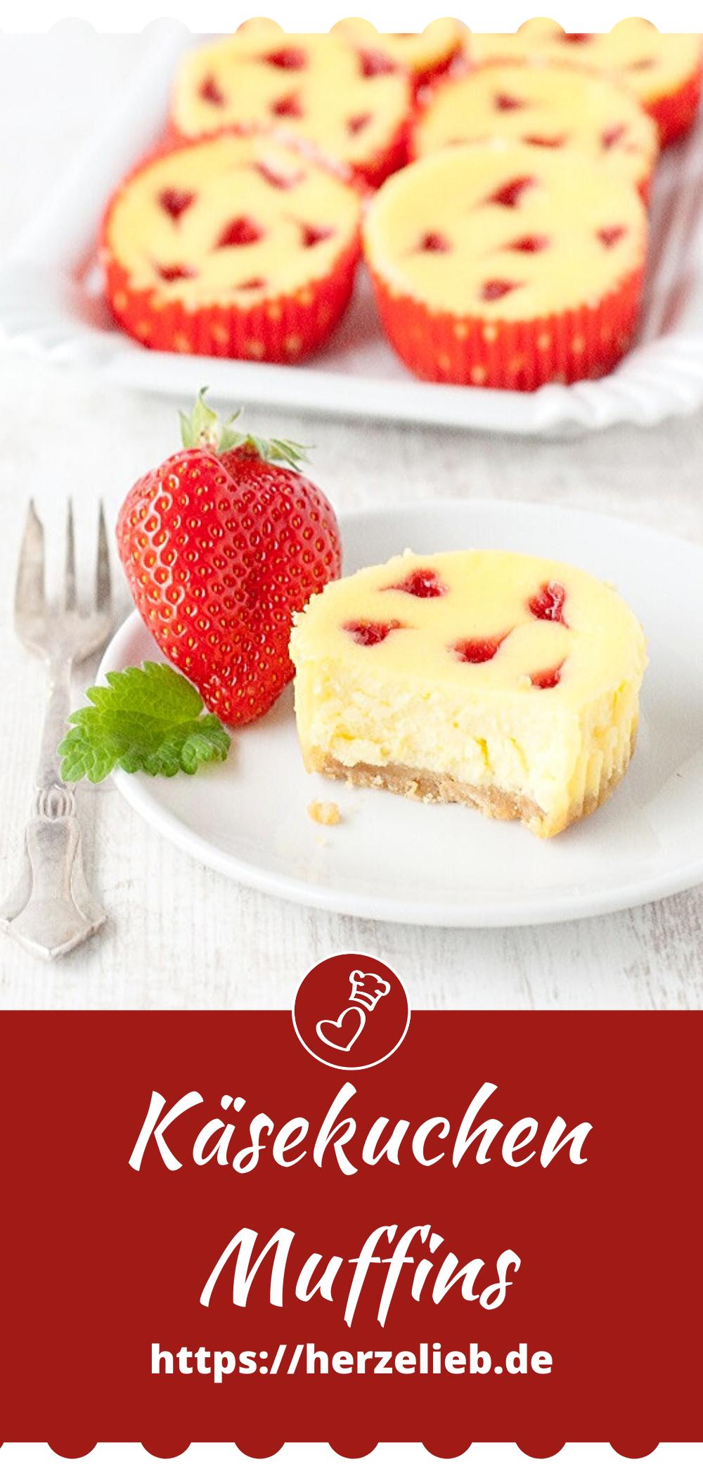 Käsekuchen Muffins Rezept von herzelieb - Kuchen lecker mit Herzen aus Erdbeeren, toll zum Muttertag