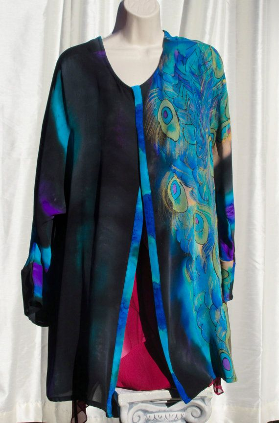Hand Painted Silk Jacket with Peacock Feather Motif by Joyflower Celebrating the Holidays with a Thanksgiving Sale  Use coupon code THANKSGIVING to Save 25% and get a Gift with Purchase. Offer good through 12/1/16.