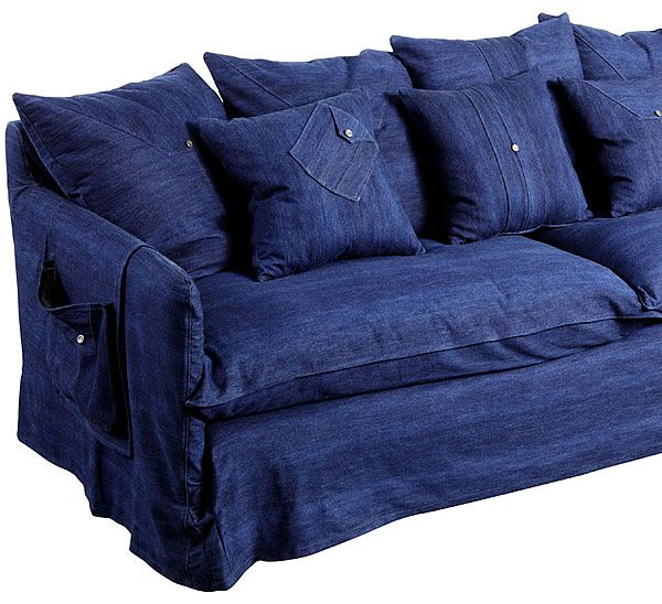 1 Buy A Comfy Sofa With Loose Covers In A Heavy Twill Cotton 2 Dye Covers Denim Blue 3 Add A Few Zips Pockets For Denim Sofa Denim Ideas Bedroom Redesign