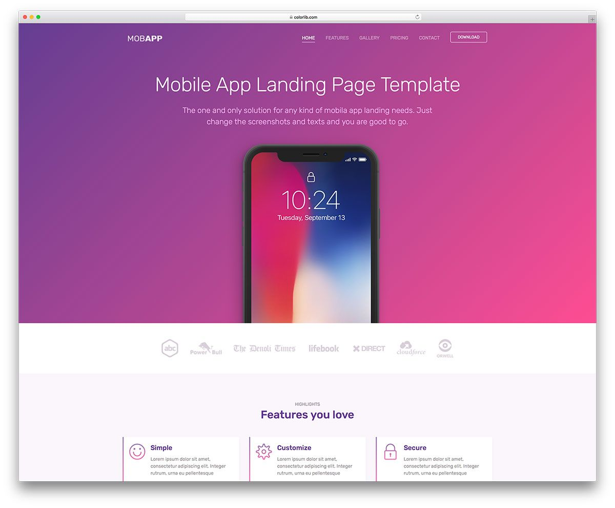Top 27 Free Landing Pages Templates Built With Bootstrap 2018 Colorlib Simple Website Templates Website Template Free Html Website Templates