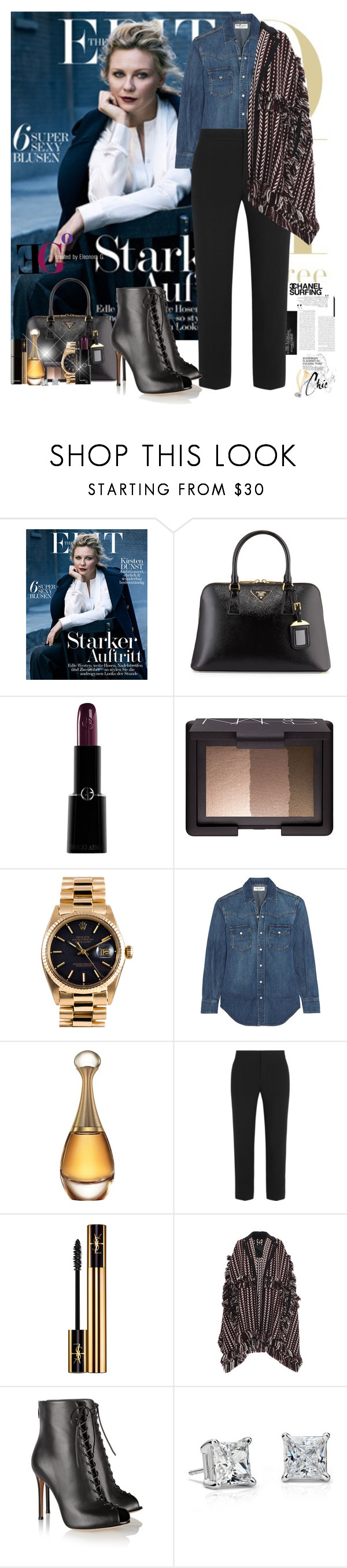 """""""Who are you?"""" by eleonoragocevska ❤ liked on Polyvore featuring Mara Hoffman, Prada, Armani Beauty, NARS Cosmetics, Rolex, Chanel, Yves Saint Laurent, Christian Dior, Chloé and Burberry"""