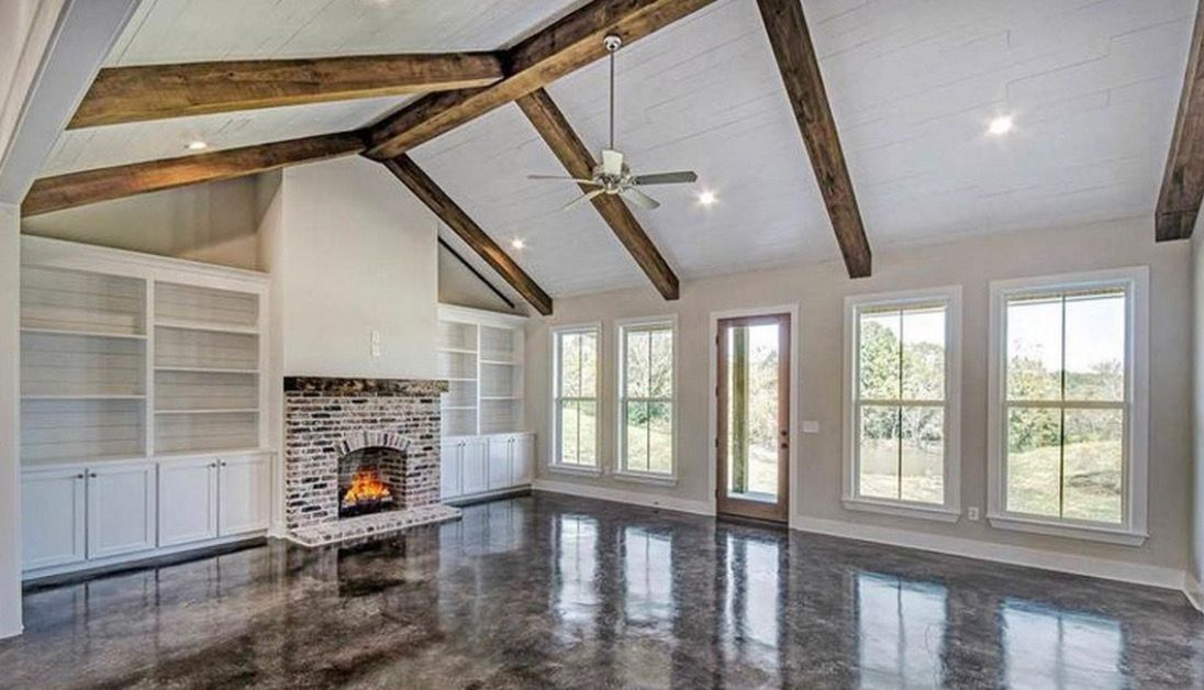 Modern Farmhouse Living Room Stained Concrete Floors Modern Farmhouse Plans Country House Plan House Plans #stained #concrete #living #room #floors