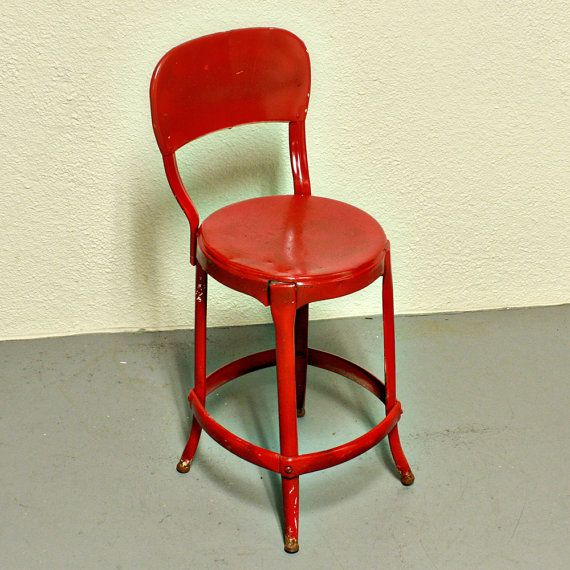 Vintage Stool Cosco Kitchen Stool Chair Red