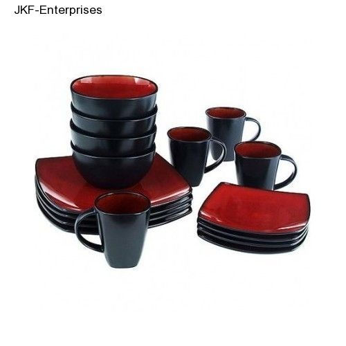 Square Dinner Plates Red Black Dinnerware Sets 16 Piece Set Bowls