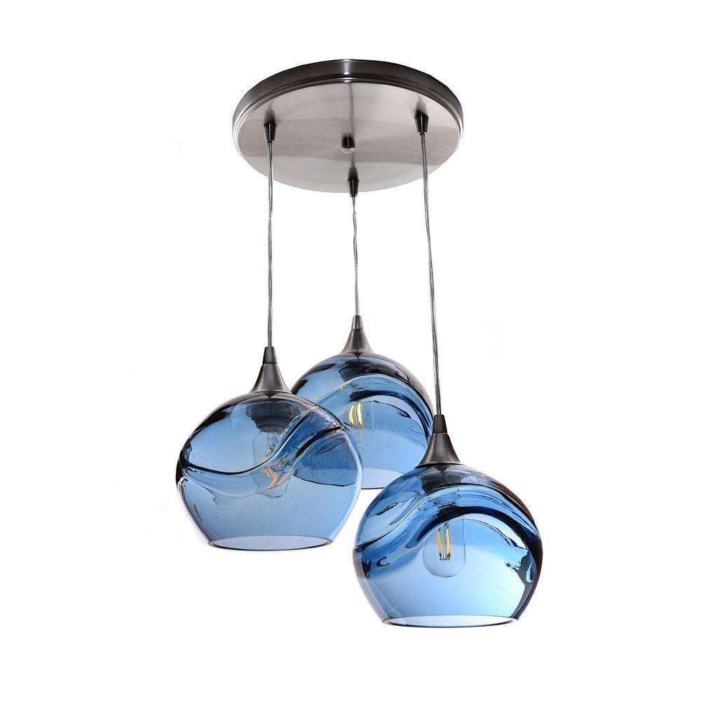 767 Swell 3 Pendant Cascade Chandelier Blown Glass Pendant Light Single Pendant Lighting Blown Glass Pendant