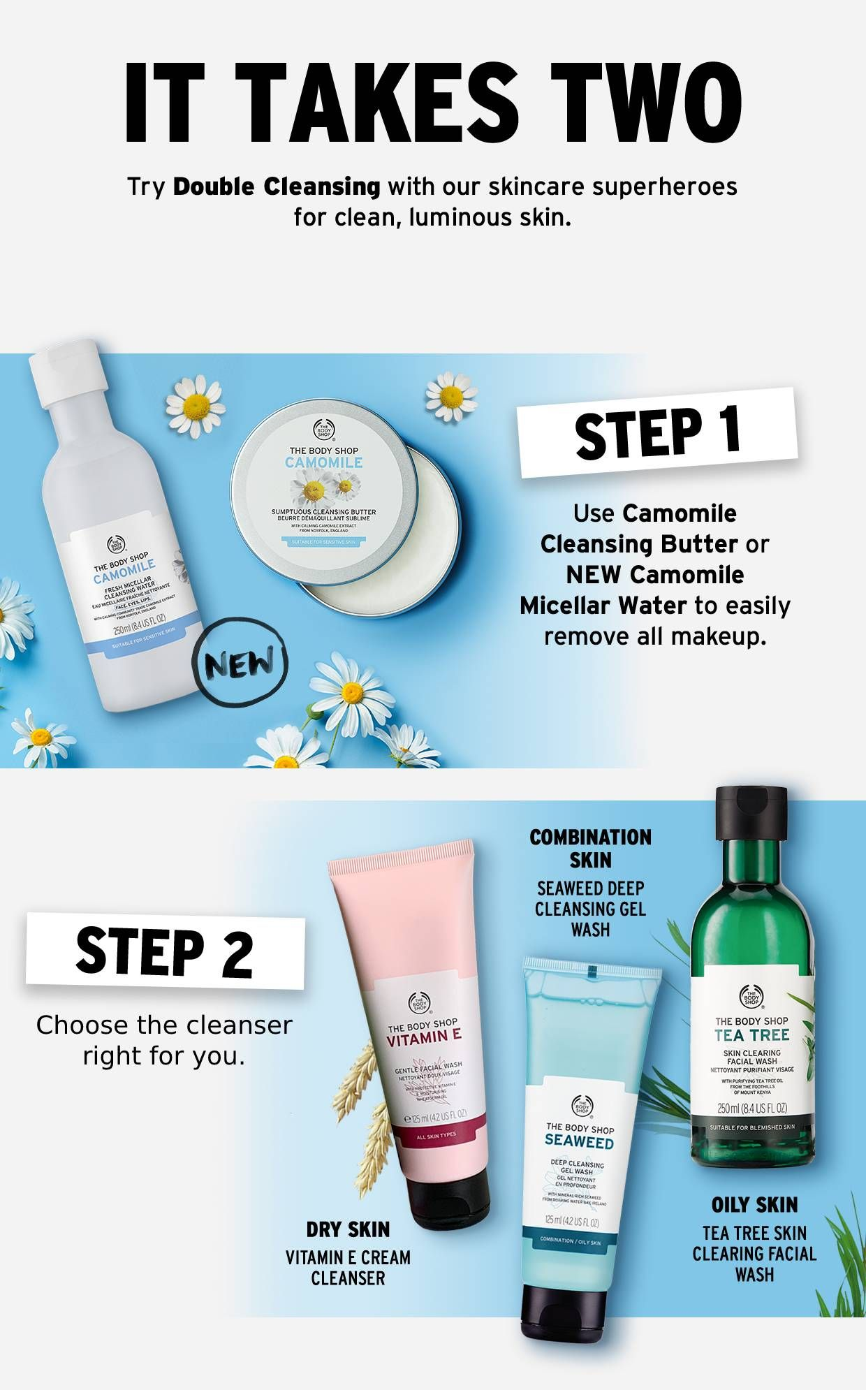 Double Cleansing Is Essential For Your Daily Skincare Routine Find Out More About This 2 Step Process Daily Skin Care Routine Body Shop Skincare The Body Shop