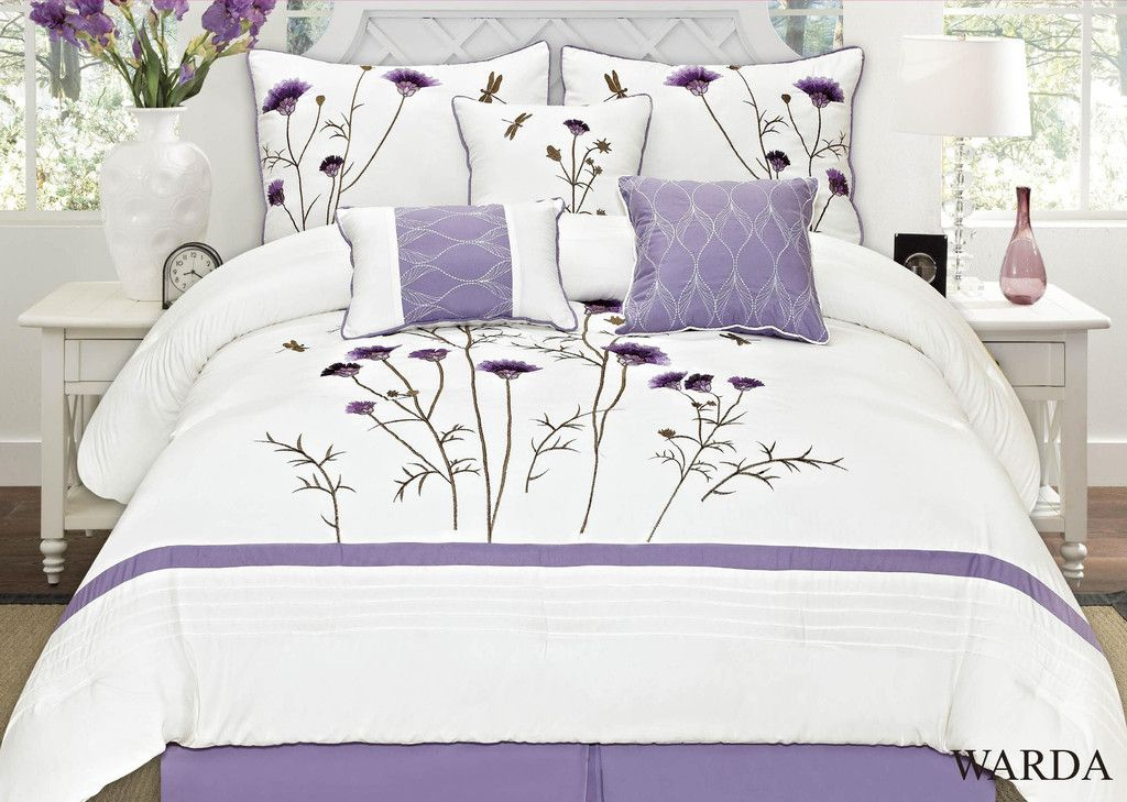 Warda 7 Piece Embroidered Comforter Set Colors Lavender