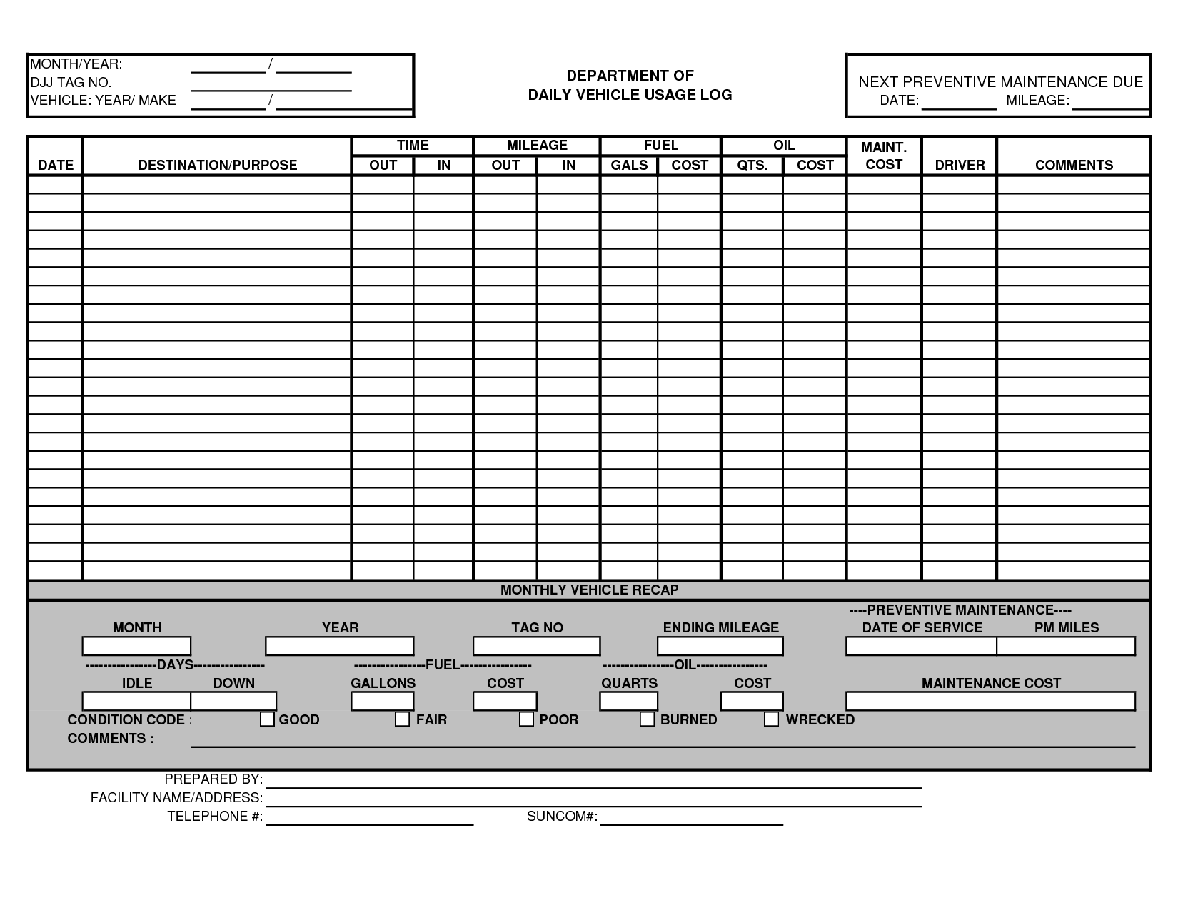 Vehicle Maintenance Log Template Excel Http://www.lonewolf Software.com