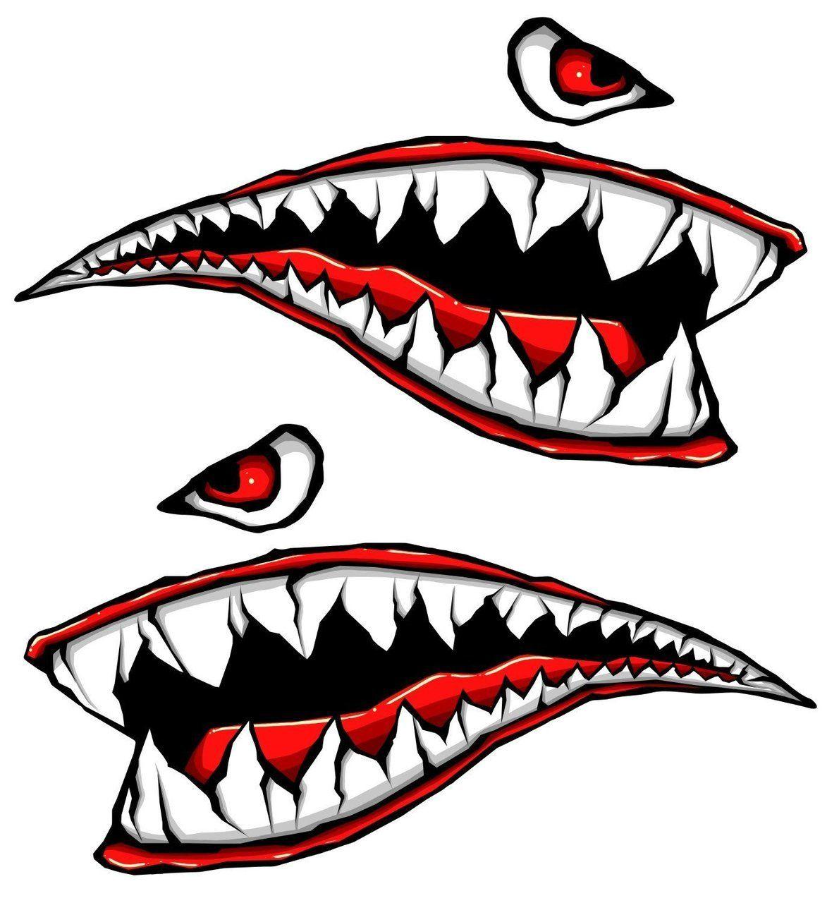 World War Fighter Tiger Shark Teeth Gel Side Body Kit Shark Teeth Motorcycle Stickers Nose Art