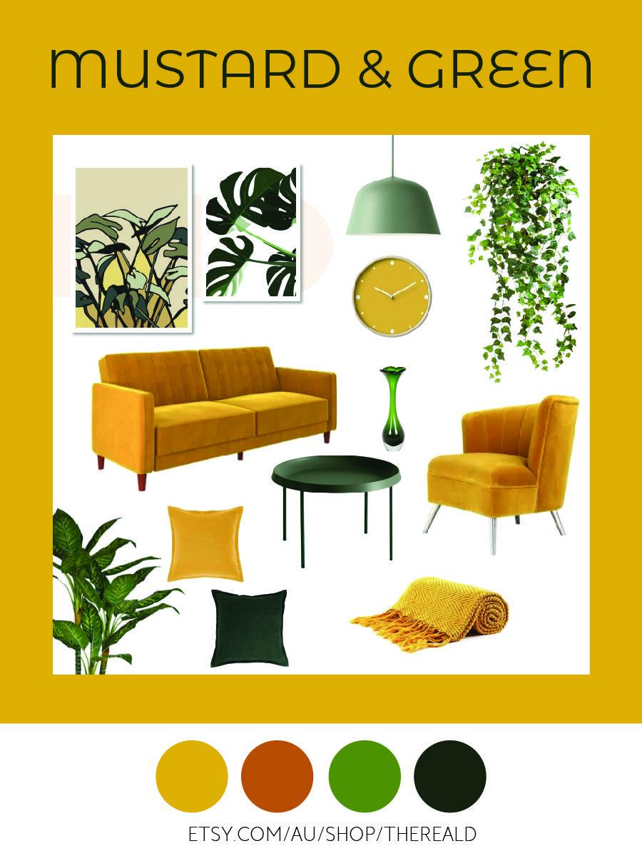 Mustard Yellow And Green Interior Design Mood Board Interior Inspiration Original Plant Drawing Wall A Yellow Living Room Yellow Home Decor Living Room Green Living room yellow green