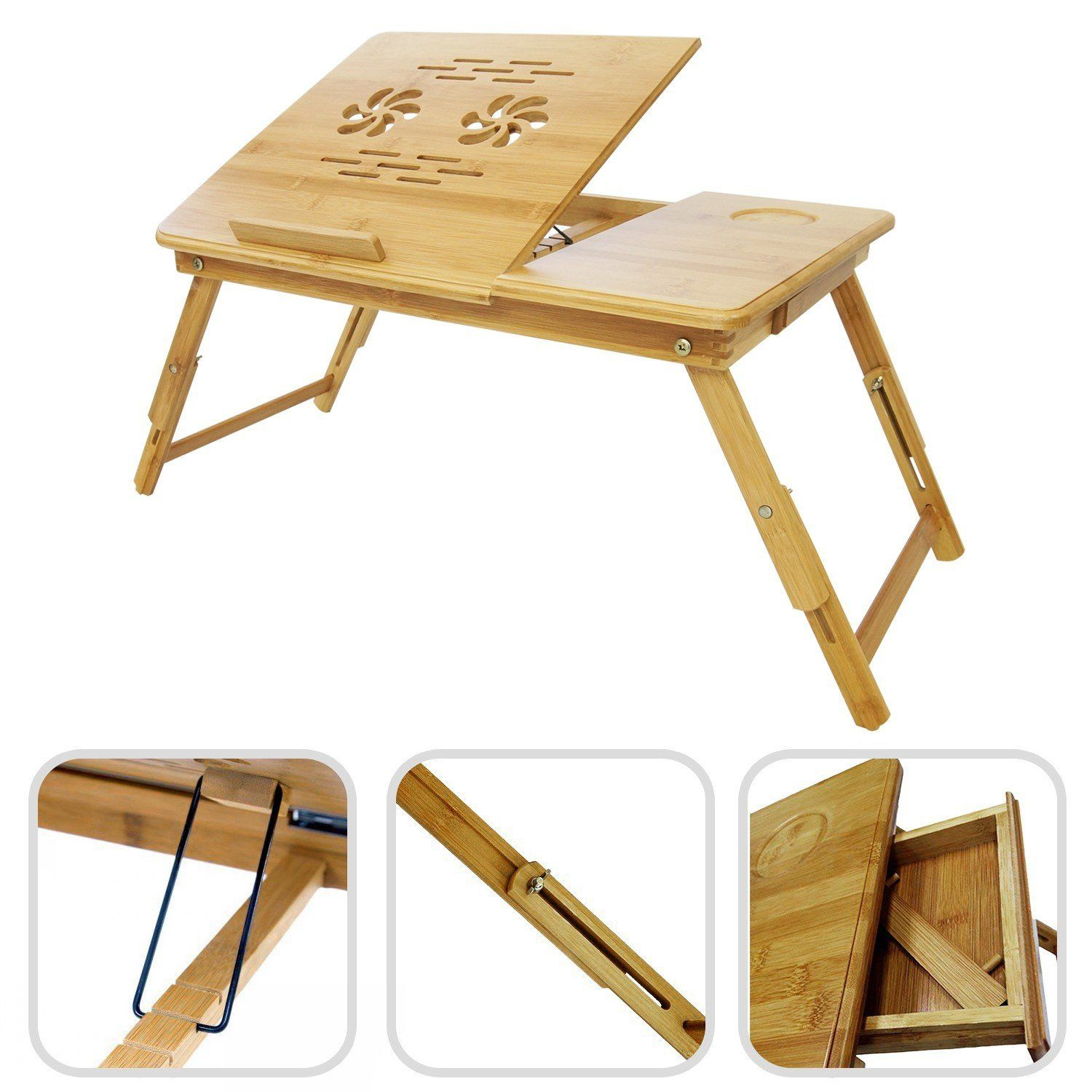 Bamboo laptop table foldable portable adjustable lap in bed