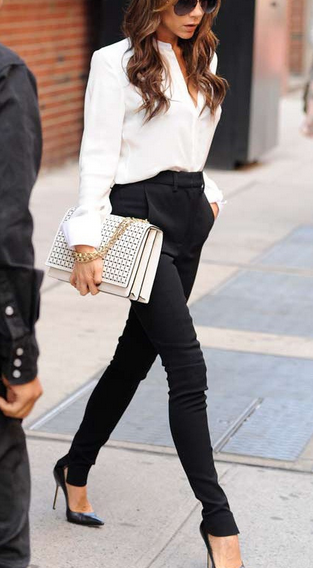 White shirt and black pants could get any classier. Love Victoria Beckham's style.