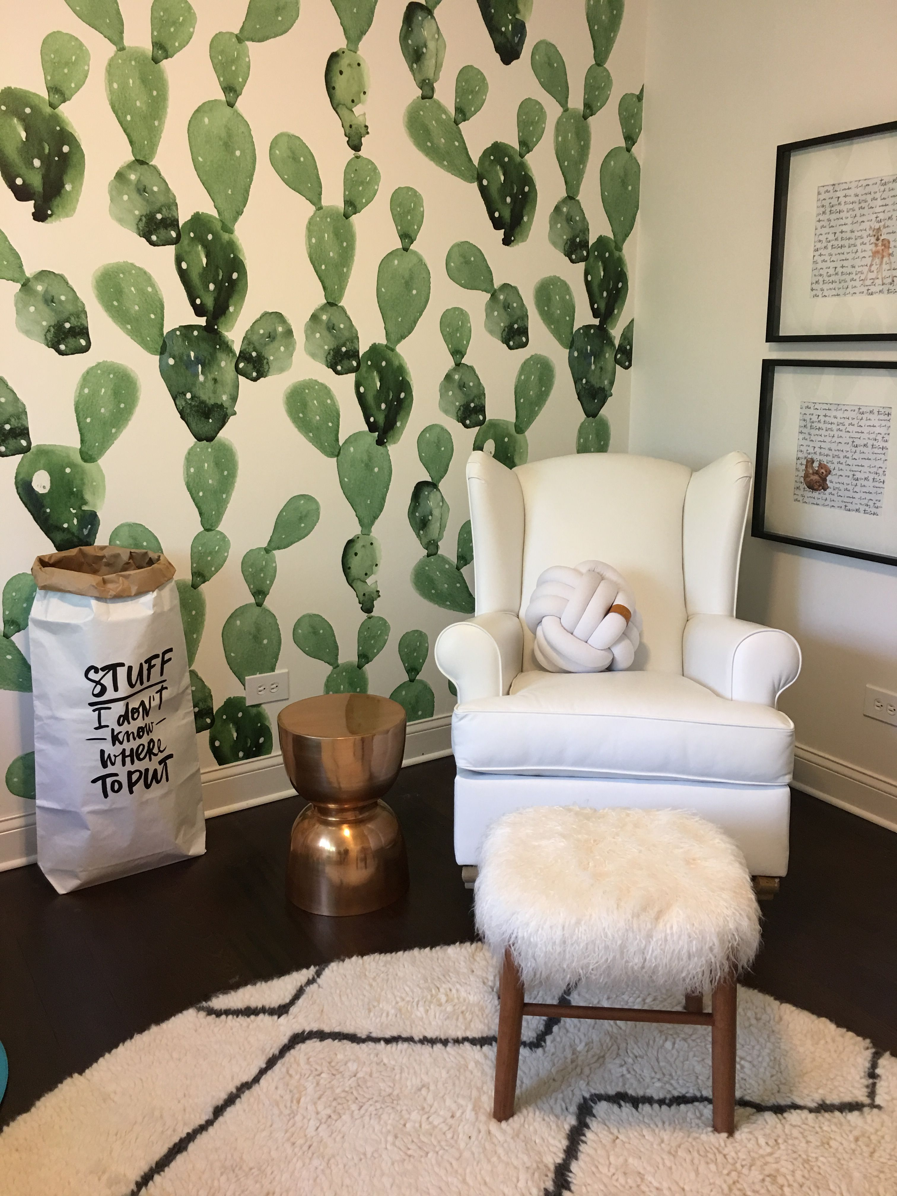 Cactus wallpaper by anewall pottery barn rocking chair and west
