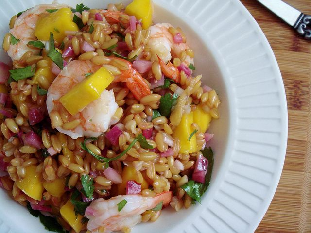 Mango Shrimp Wheat Berries Salad