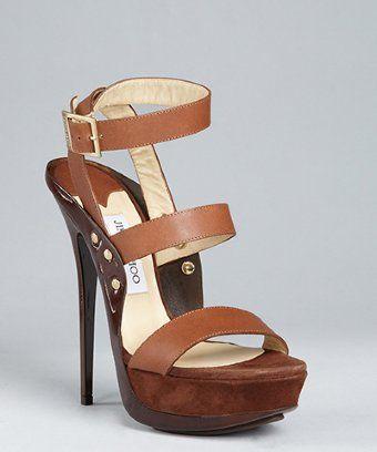 1438e2c50548 Jimmy Choo brown vacchetta and suede  Valley  platform stiletto sandals