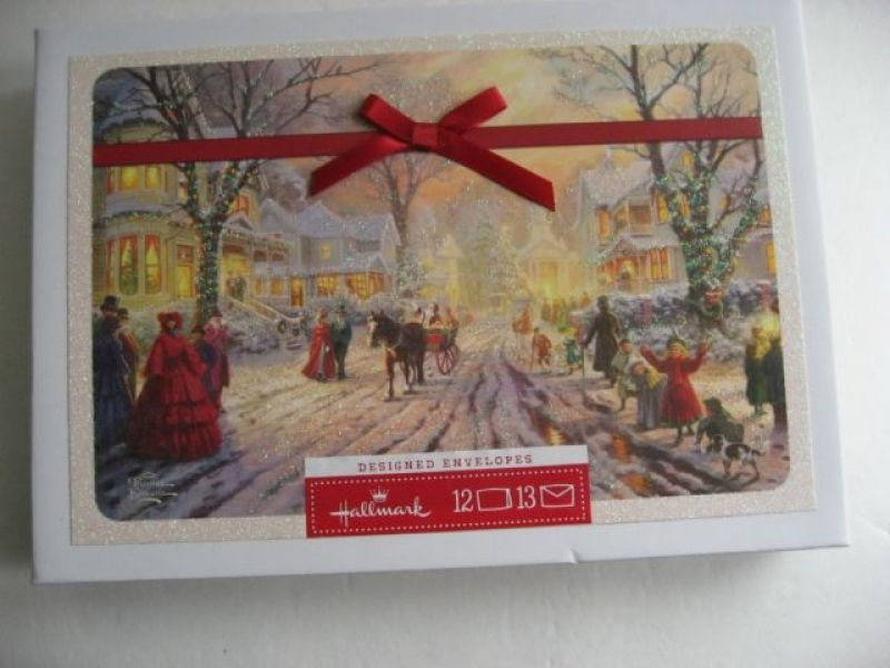 Village Christmas Thomas Kinkade Christmas Card with Message With Envelope