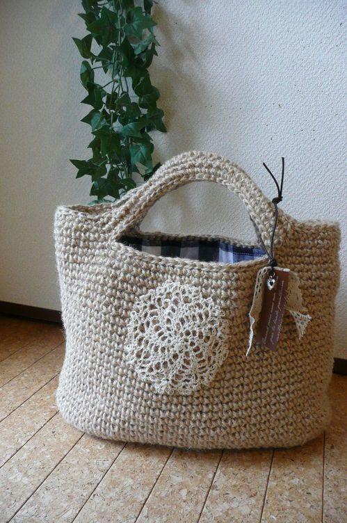fdba241a8397 麻ひもの四角いバッグの作り方|編み物|編み物・手芸・ソーイング|作品カテゴリ|アトリエ