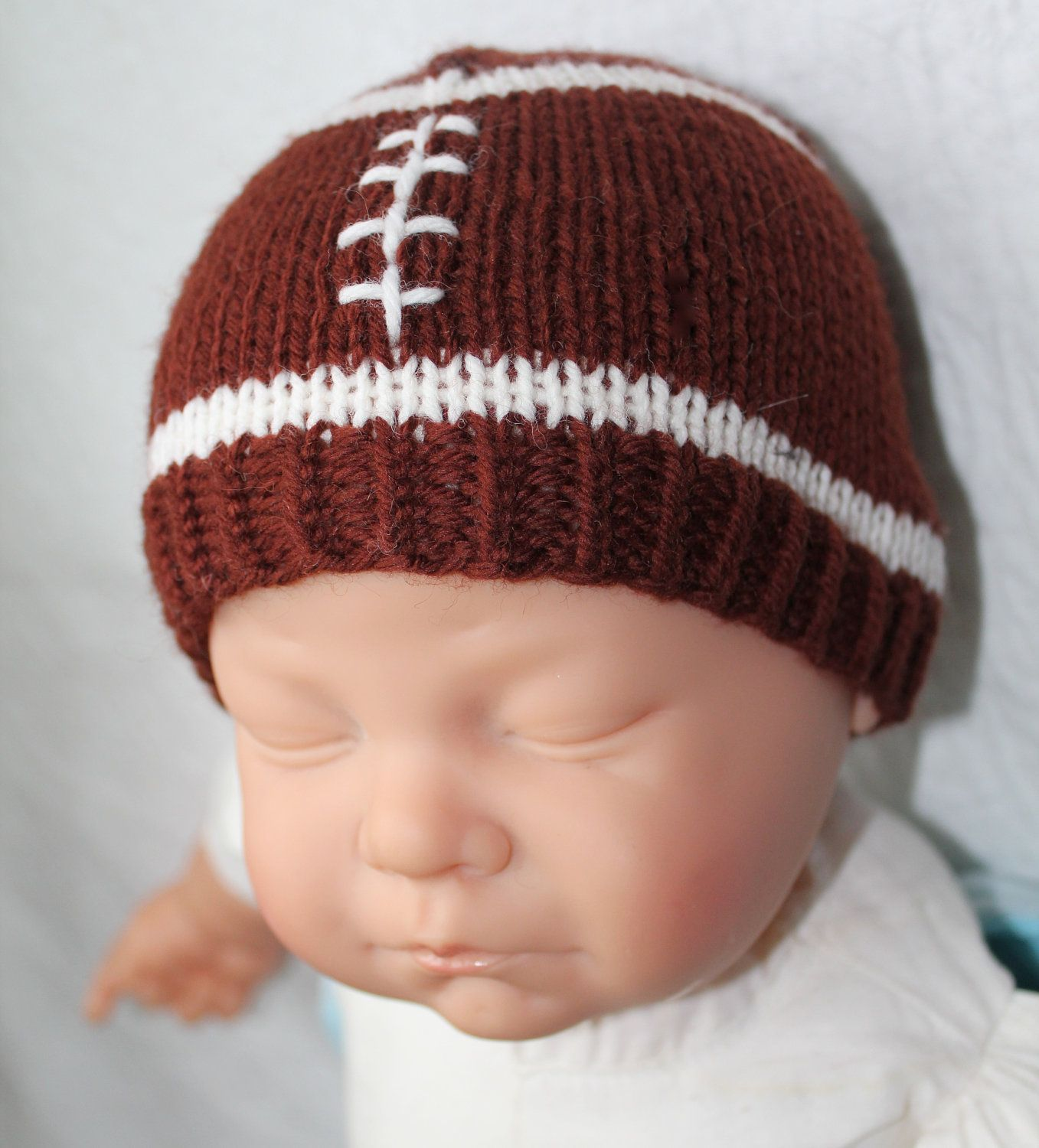 Free Knitting Patterns For Hats In The Round : PATTERN - Football Baby Hat Knitting Pattern Size 0 to 3/6 to 12 Months/1-3 Y...
