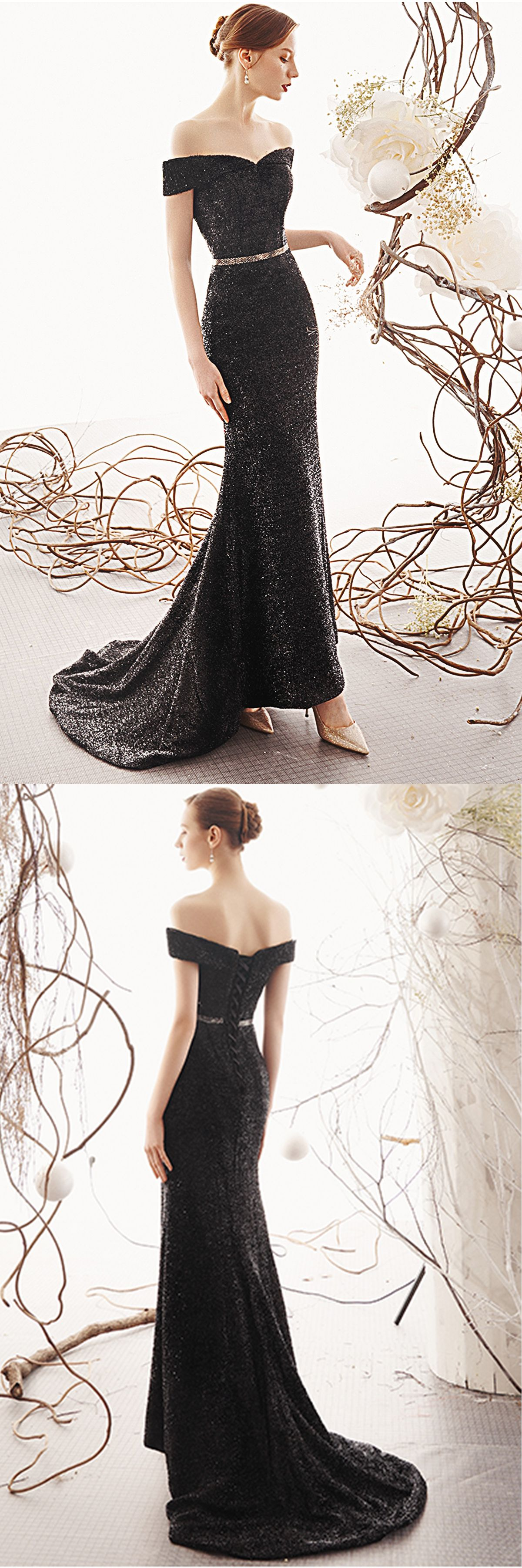 Black Bling Bling Off Shoulder Sweep Train Evening Dress With Sleeves From Girlsprom Dresses Evening Dresses With Sleeves Train Evening Dress [ 3600 x 1200 Pixel ]