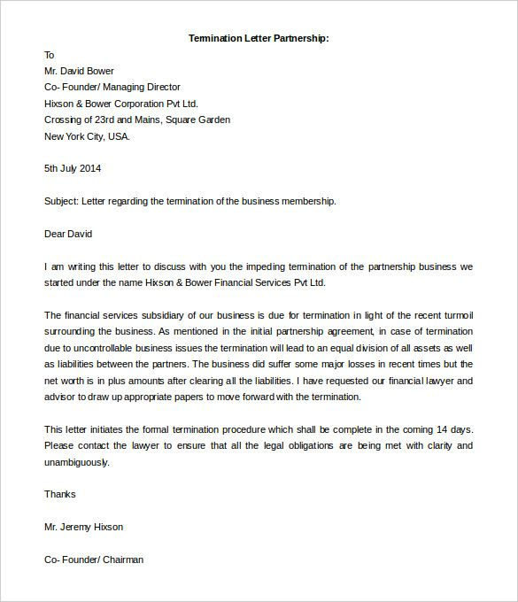 partnership termination letter templates free sample example - business termination letter