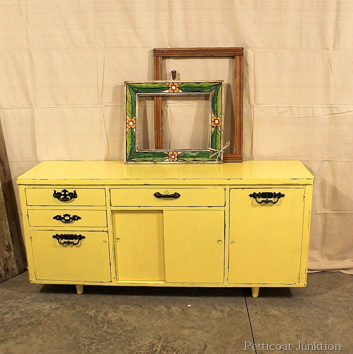 Painted Furniture Before And After Yellow Credenza Petticoat Junktion