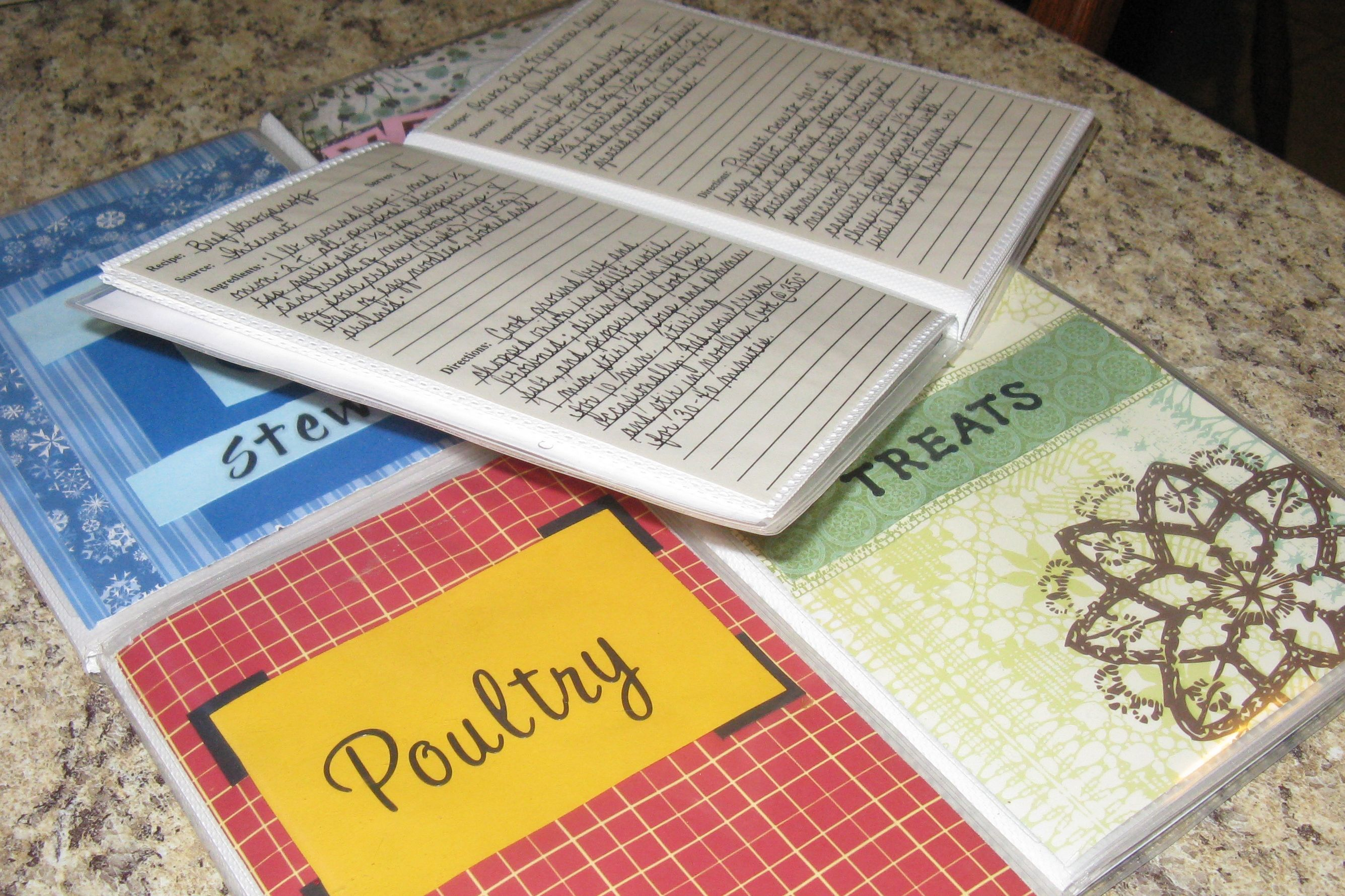 My new recipe system. I bought 4x6 photo albums from Target and ...