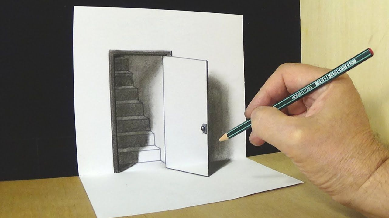 Trick Art Drawing The Door Illusion Magic Perspective With