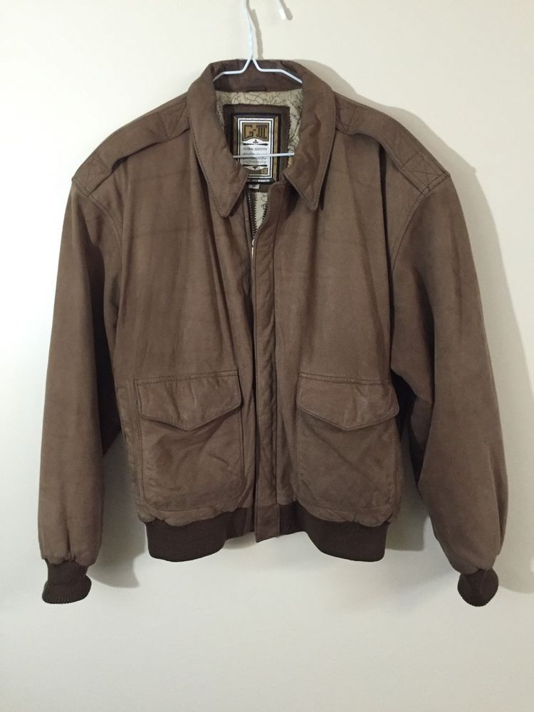 f468203c6 Details about G-III GLOBAL IDENTITY Brown Leather Bomber Jacket ...